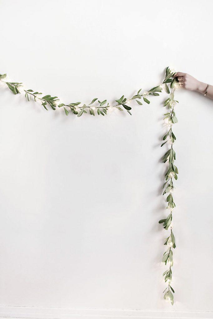 DIY - dây đèn trang trí từ lá olive - 4
