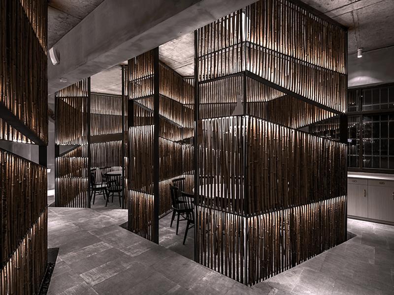 Yiduan Shanghai Interior Design thiết kế nhà hàng bằng nguyên liệu tre truyền thống