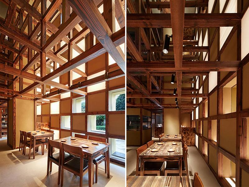 Vẻ đẹp đến từ kết cấu trong nhà hàng Nhật Bản Yoshimasa Tsutsumi