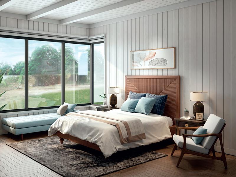 Không gian phòng ngủ hiện đại cùng plywood kiến trúc